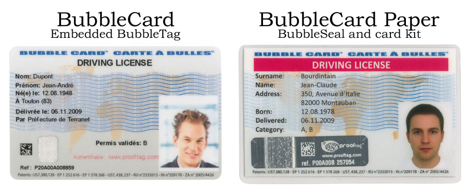 The BubbleCard comes in 2 forms - a plastic dye sublimation compatible card which works in most card printers, or a card and BubbleSeal kit to be printed on a regular printer, stuck with a BubbleSeal and laminated.