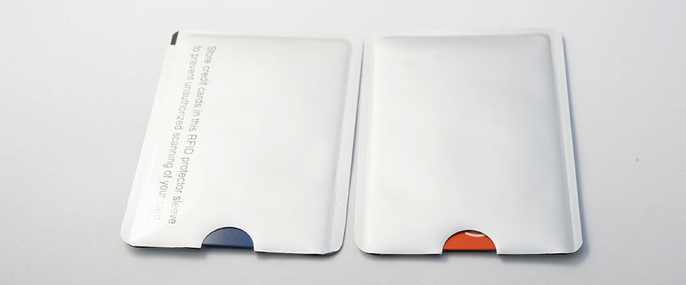 A standard credit card will fit comfortably within the sleeve.